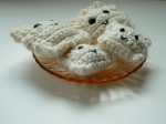 Ravioli Amigurumis were crocheted from my original pattern using acrylic white yarn, safety eyes and polyester fiberfill.