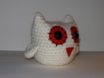 Valentine's Day Snow owl was crocheted from my original pattern using white yarn, embroidery thread, felt, safety eyes and polyester fiberfill.